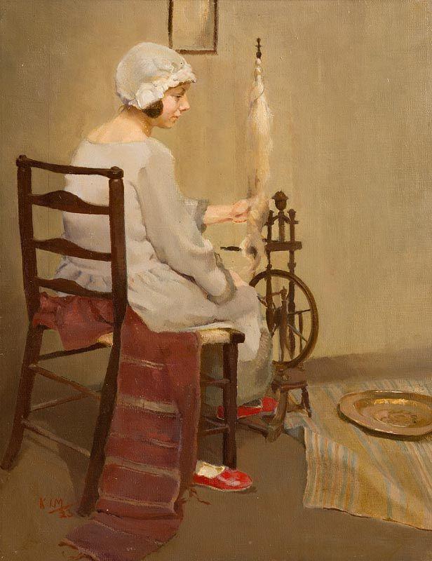 Kathleen Isabella Mackie, The Spinner (1923) at Morgan O'Driscoll Art Auctions