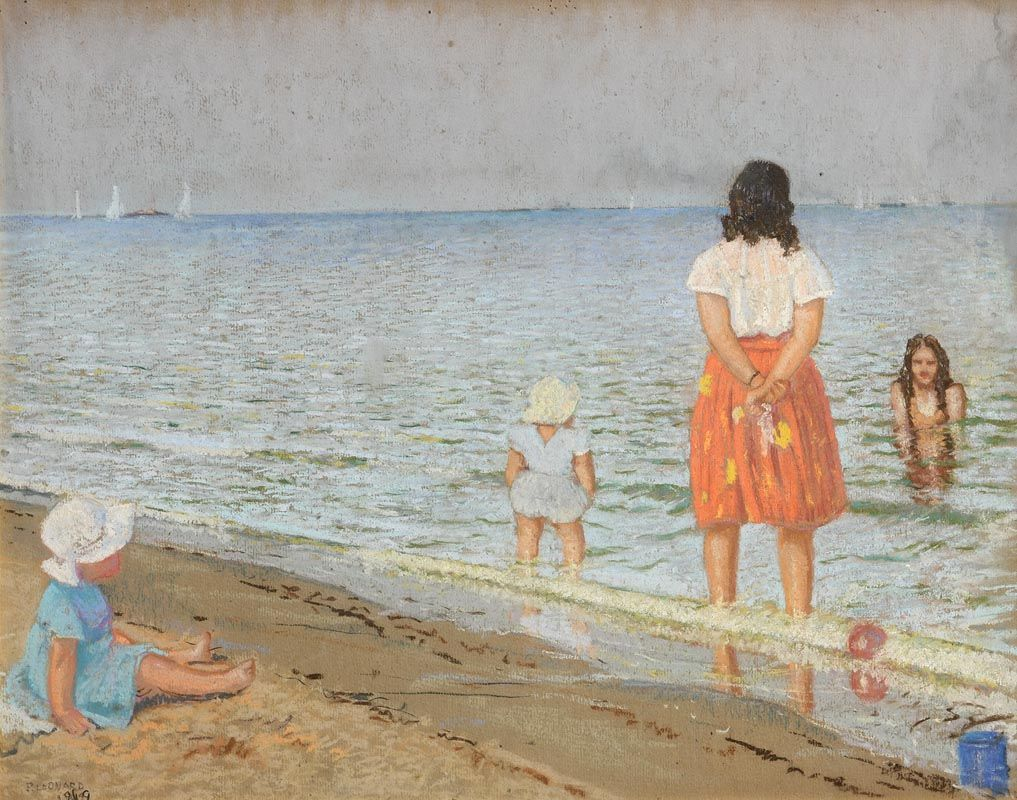 Patrick Leonard, Hilary and the Kids at the Beach (1949) at Morgan O'Driscoll Art Auctions