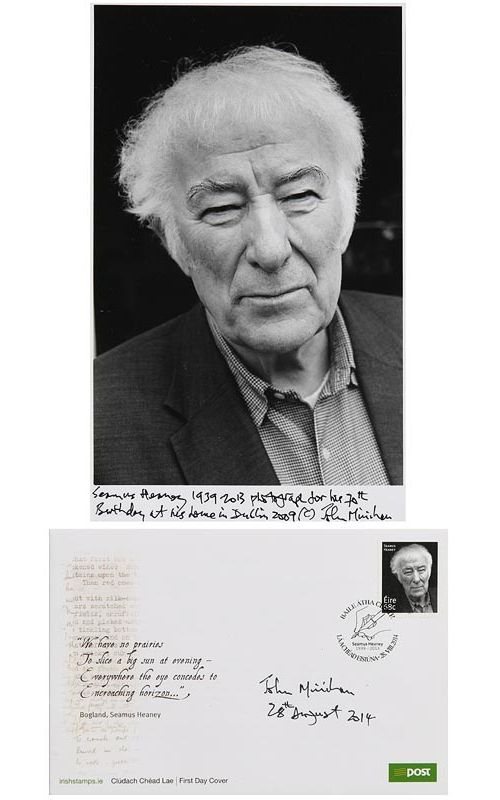 John Minihan, Seamus Heaney on his 70th Birthday at his home in Dublin 2009 & First Day Cover of An Post Stamp at Morgan O'Driscoll Art Auctions