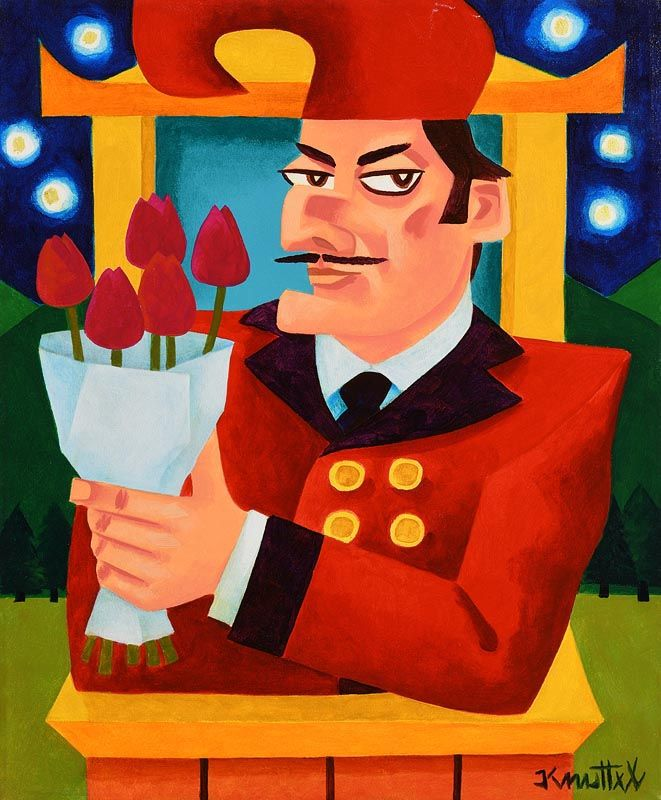 Graham Knuttel, Mr Punch With Tulips at Morgan O'Driscoll Art Auctions