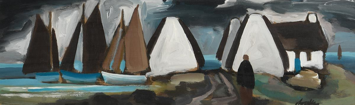 Markey Robinson, Fishing Village, West of Ireland at Morgan O'Driscoll Art Auctions