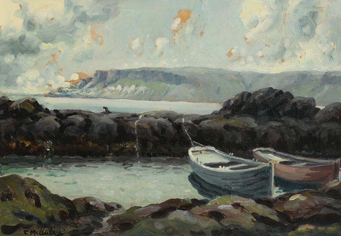 Charles J. McAuley, Antrim Coast, Moored Boats at Morgan O'Driscoll Art Auctions
