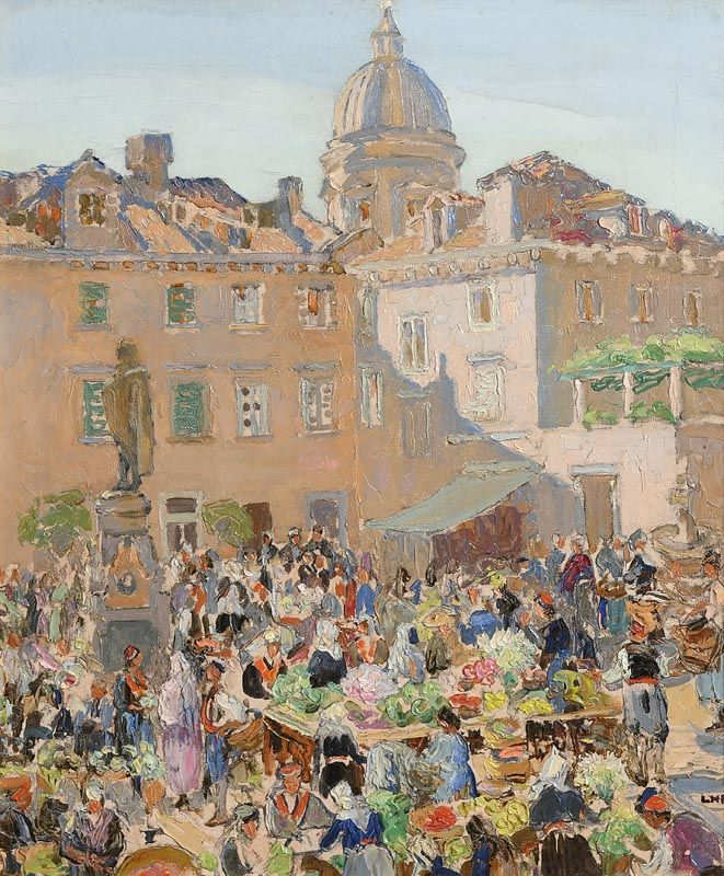 Letitia Marion Hamilton, The Flower Market, Dubrovnik at Morgan O'Driscoll Art Auctions