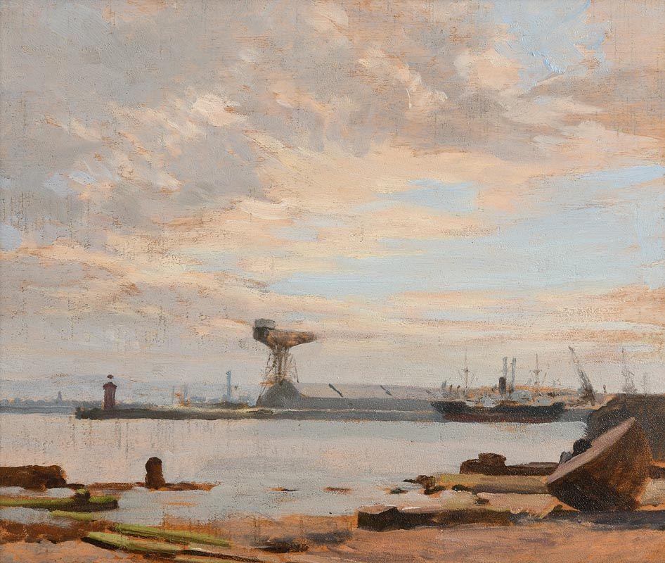 Dermod O'Brien, Dublin Docks at Morgan O'Driscoll Art Auctions