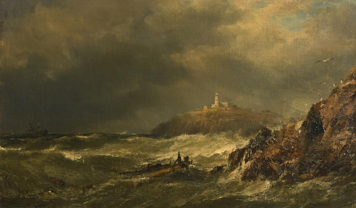 Edwin Hayes, The Mumbles Lighthouse, Swansea (1884) at Morgan O'Driscoll Art Auctions